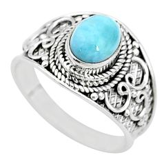 2.21cts solitaire natural blue larimar 925 sterling silver ring size 8 t10220