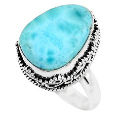 13.41cts solitaire natural blue larimar 925 sterling silver ring size 8 t10410