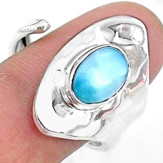 2.32cts solitaire natural blue larimar 925 sterling silver ring size 8 t10537