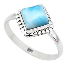 2.28cts solitaire natural blue larimar 925 sterling silver ring size 8 t11184