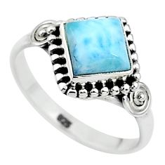 2.53cts solitaire natural blue larimar 925 sterling silver ring size 8 t11196