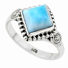 2.45cts solitaire natural blue larimar 925 sterling silver ring size 8 t11208