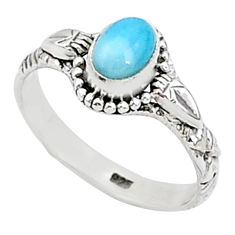 1.51cts solitaire natural blue larimar 925 sterling silver ring size 8 t1422