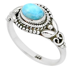 1.51cts solitaire natural blue larimar 925 sterling silver ring size 8 t1436