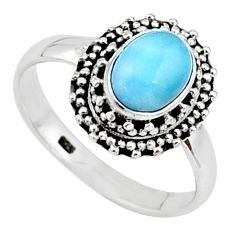 2.21cts solitaire natural blue larimar 925 sterling silver ring size 8 t15845