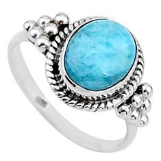 4.28cts solitaire natural blue larimar 925 sterling silver ring size 8 t15873