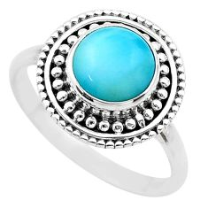 3.10cts solitaire natural blue larimar 925 sterling silver ring size 8 t20147
