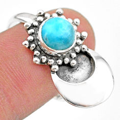 2.34cts solitaire natural blue larimar 925 sterling silver ring size 8 t25128