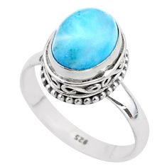 4.06cts solitaire natural blue larimar 925 sterling silver ring size 8 t37933