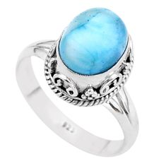 4.29cts solitaire natural blue larimar 925 sterling silver ring size 8 t37936