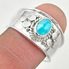 1.57cts solitaire natural blue larimar 925 sterling silver ring size 8 t42261