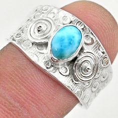 1.53cts solitaire natural blue larimar 925 sterling silver ring size 8 t42262