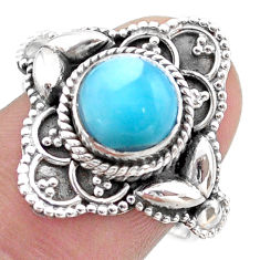 3.24cts solitaire natural blue larimar 925 sterling silver ring size 8 t46126