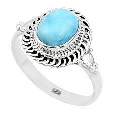 3.13cts solitaire natural blue larimar 925 sterling silver ring size 8 t4940