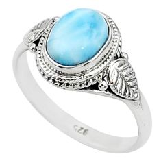 2.93cts solitaire natural blue larimar 925 sterling silver ring size 8 t4964