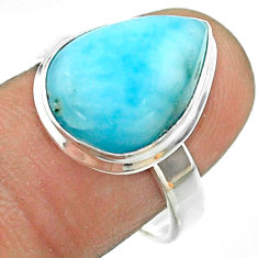 9.05cts solitaire natural blue larimar 925 sterling silver ring size 8 t56251