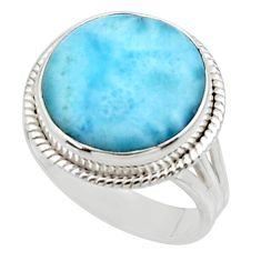 14.26cts solitaire natural blue larimar 925 sterling silver ring size 9 r50241