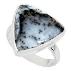 14.95cts solitaire natural white dendrite opal 925 sterling silver ring size 9 r50843
