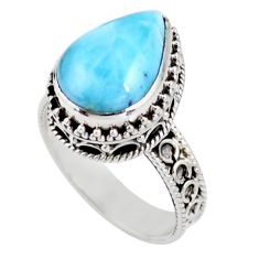 6.76cts solitaire natural blue larimar 925 sterling silver ring size 9 r51882