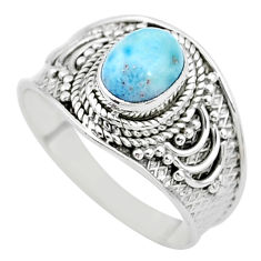 2.11cts solitaire natural blue larimar 925 sterling silver ring size 9 t10219