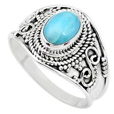 2.10cts solitaire natural blue larimar 925 sterling silver ring size 9 t10229