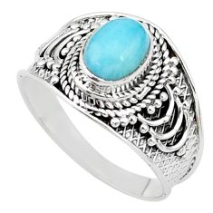 2.11cts solitaire natural blue larimar 925 sterling silver ring size 9 t10233