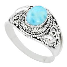2.15cts solitaire natural blue larimar 925 sterling silver ring size 9 t10236
