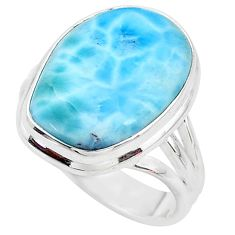 13.28cts solitaire natural blue larimar 925 sterling silver ring size 9 t10291