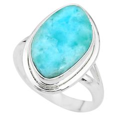 12.07cts solitaire natural blue larimar 925 sterling silver ring size 9 t10331
