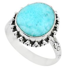7.89cts solitaire natural blue larimar 925 sterling silver ring size 9 t10489