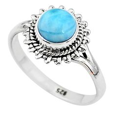 2.61cts solitaire natural blue larimar 925 sterling silver ring size 9 t11195