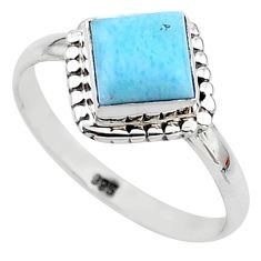 2.72cts solitaire natural blue larimar 925 sterling silver ring size 9 t11207
