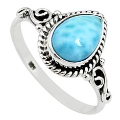 2.25cts solitaire natural blue larimar 925 sterling silver ring size 9 t15869