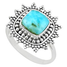 3.01cts solitaire natural blue larimar 925 sterling silver ring size 9 t20249
