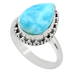 6.58cts solitaire natural blue larimar 925 sterling silver ring size 9 t24360