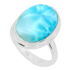 14.52cts solitaire natural blue larimar 925 sterling silver ring size 9 t24567