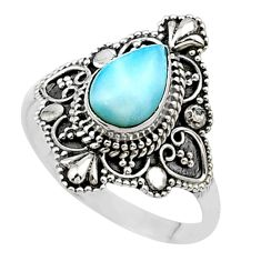 2.19cts solitaire natural blue larimar 925 sterling silver ring size 9 t27203