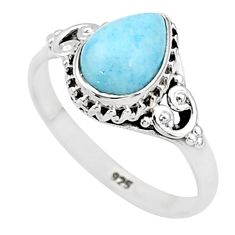 2.58cts solitaire natural blue larimar 925 sterling silver ring size 9 t4923