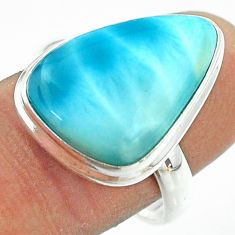 14.21cts solitaire natural blue larimar 925 sterling silver ring size 9 t54019