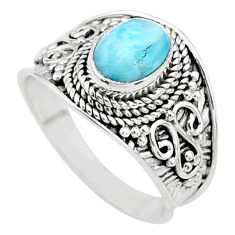 2.19cts solitaire natural blue larimar 925 sterling silver ring size 7.5 t10206