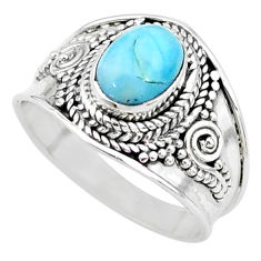 2.02cts solitaire natural blue larimar 925 sterling silver ring size 7.5 t10208