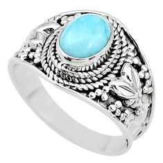 2.32cts solitaire natural blue larimar 925 sterling silver ring size 7.5 t10210