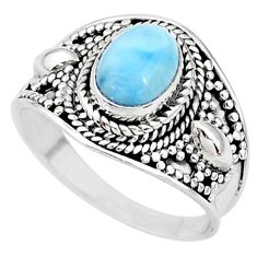2.14cts solitaire natural blue larimar 925 sterling silver ring size 7.5 t10221