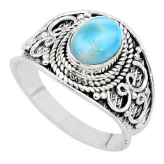 2.10cts solitaire natural blue larimar 925 sterling silver ring size 7.5 t10232