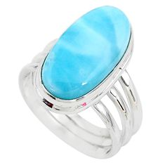7.83cts solitaire natural blue larimar 925 sterling silver ring size 6.5 t10298