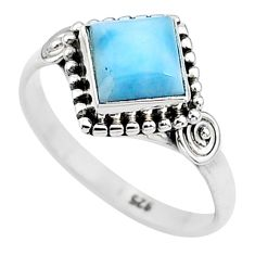 2.44cts solitaire natural blue larimar 925 sterling silver ring size 8.5 t11186