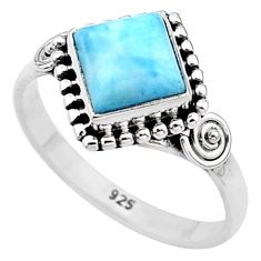 2.46cts solitaire natural blue larimar 925 sterling silver ring size 7.5 t11220