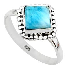 2.52cts solitaire natural blue larimar 925 sterling silver ring size 8.5 t11232