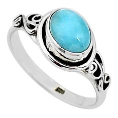1.81cts solitaire natural blue larimar 925 sterling silver ring size 6.5 t15852