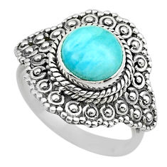 3.03cts solitaire natural blue larimar 925 sterling silver ring size 6.5 t20130